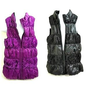 Faded Glory Girls Sequin Puffer Vests Lot of 2